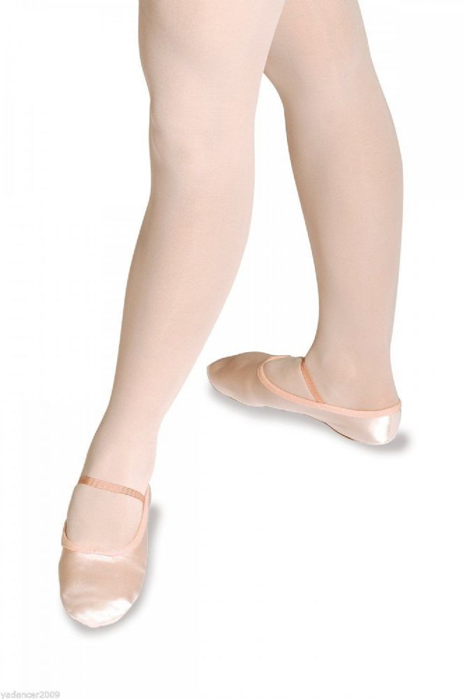 Roch Valley PINK SATIN BALLET SHOES with Split Suede Sole Size 1 to Adult 8